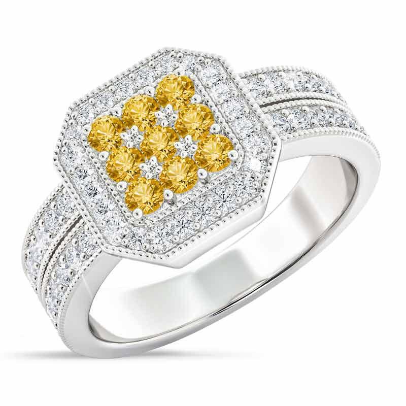 Flair  Square Personalized Birthstone  Diamond Ring 2306 001 5 11
