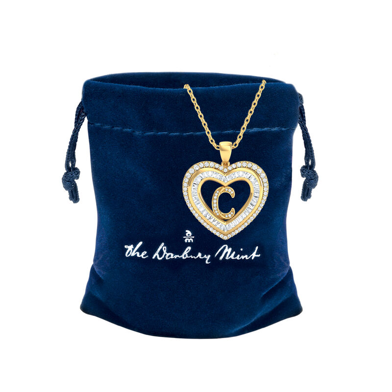 Initial Heart Pendant 10383 0014 g gift pouch