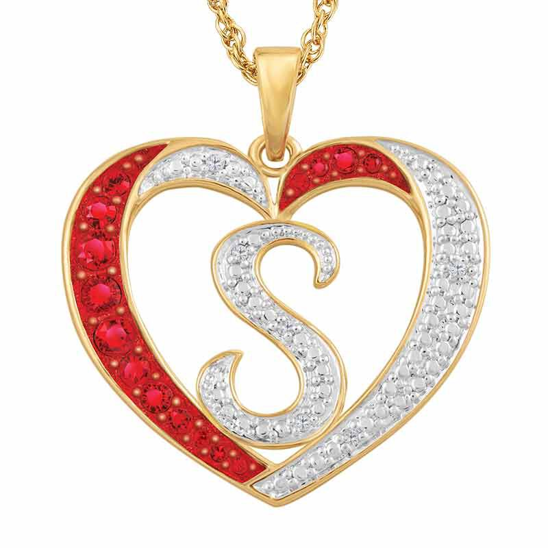 Personalized Diamond Initial Heart Pendant 2300 001 1 1