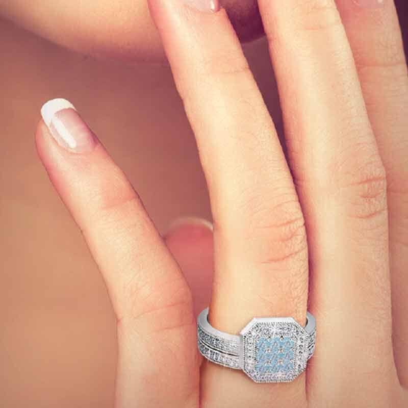 Flair  Square Personalized Birthstone  Diamond Ring 2306 001 5 14