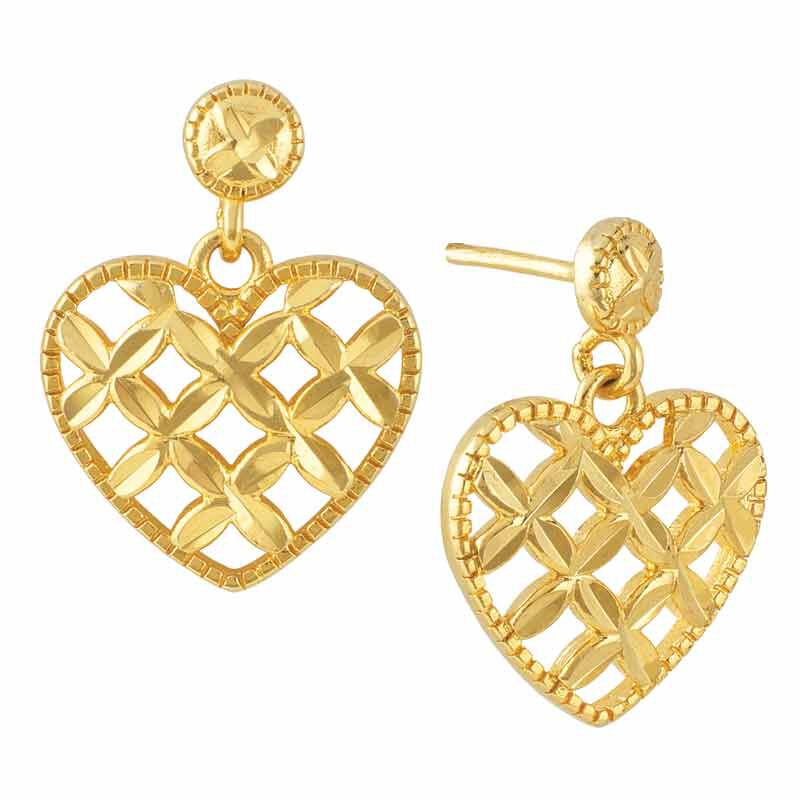 Golden Kisses Diamond cut Heart Pendant  Earring Set 2257 006 3 3