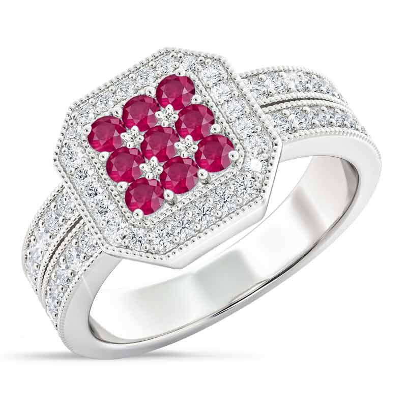 Flair  Square Personalized Birthstone  Diamond Ring 2306 001 5 7