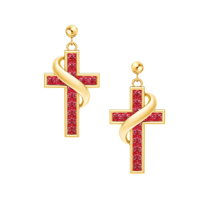 Birthstone Cross Earrings 5657 0021 g july