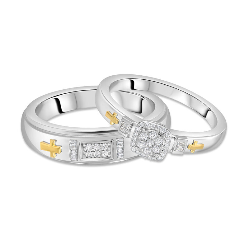 Together in Faith His Hers Diamond Ring Set 10143 0015 a main