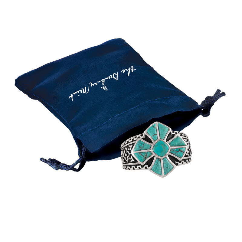 Mens Turquoise Cross Ring 10420 0019 g gift pouch