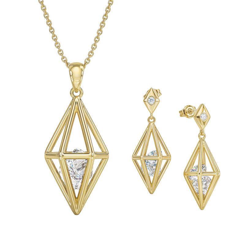 Elegantly Paired Caged Pendant Earring Set 6734 0018 a main