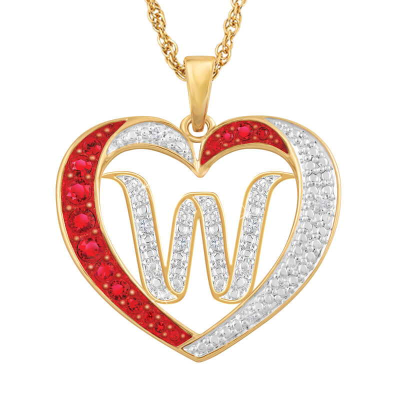 For My Daughter Diamond Initial Heart Pendant 10119 0015 a w initial
