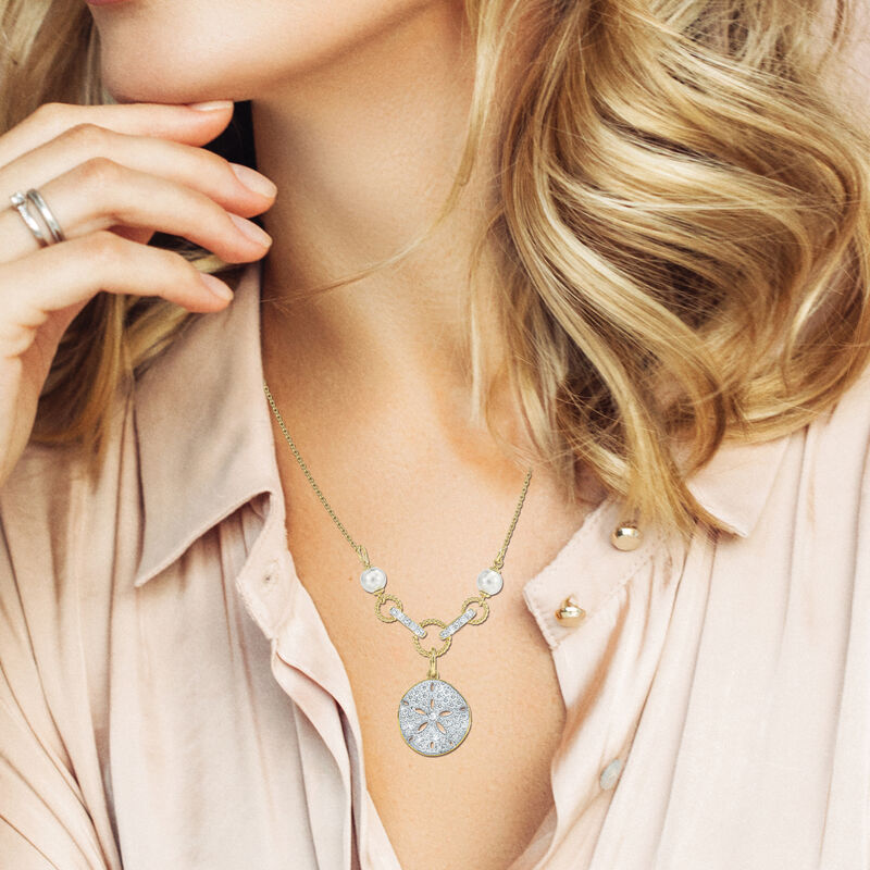 Legend of the Sand Dollar Diamond and Pearl Necklace 6790 0019 m model