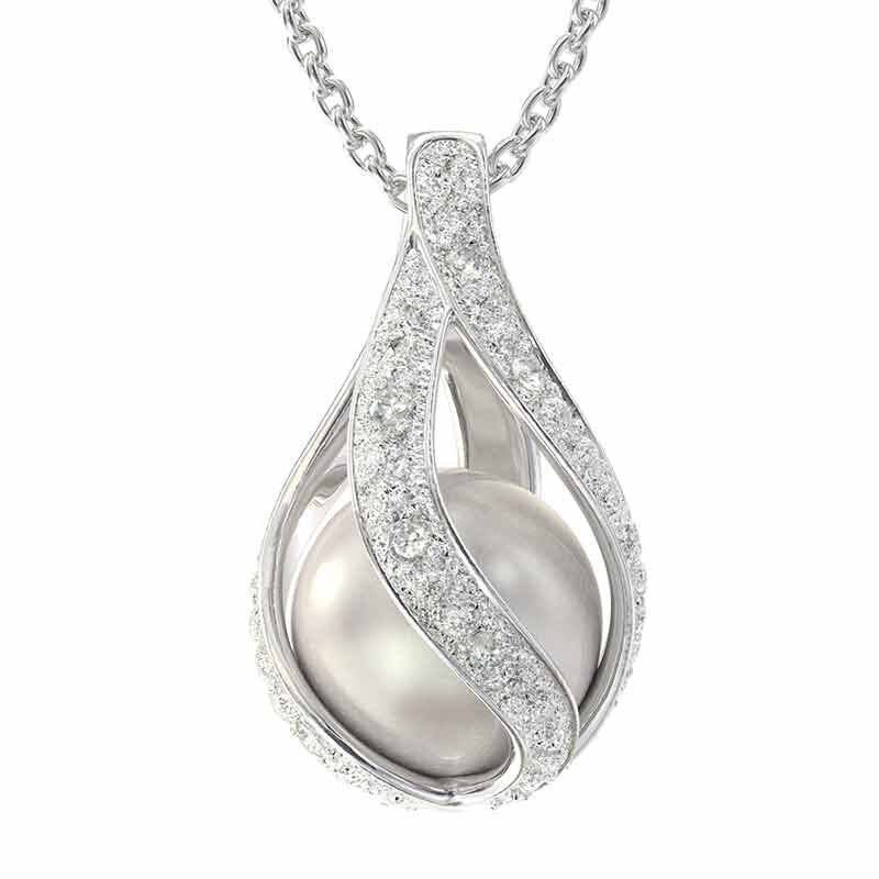 Loves Embrace Pearl  Diamond Pendant 6773 001 0 1