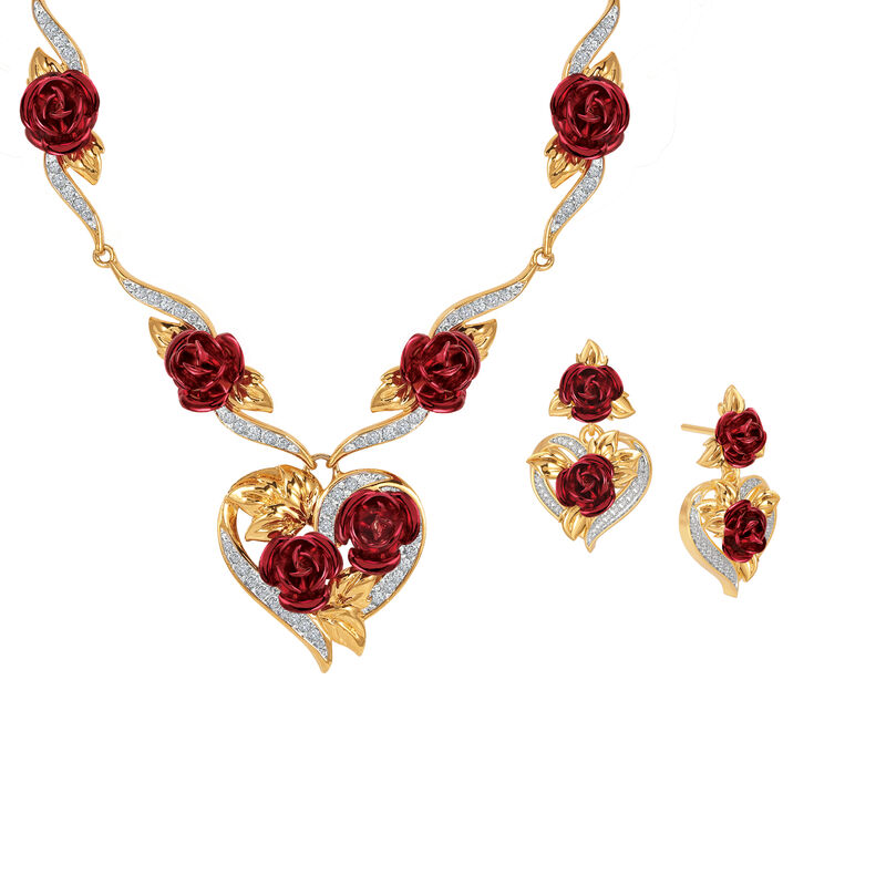A Dozen Roses Heart Necklace Earring Set 10244 0013 a main