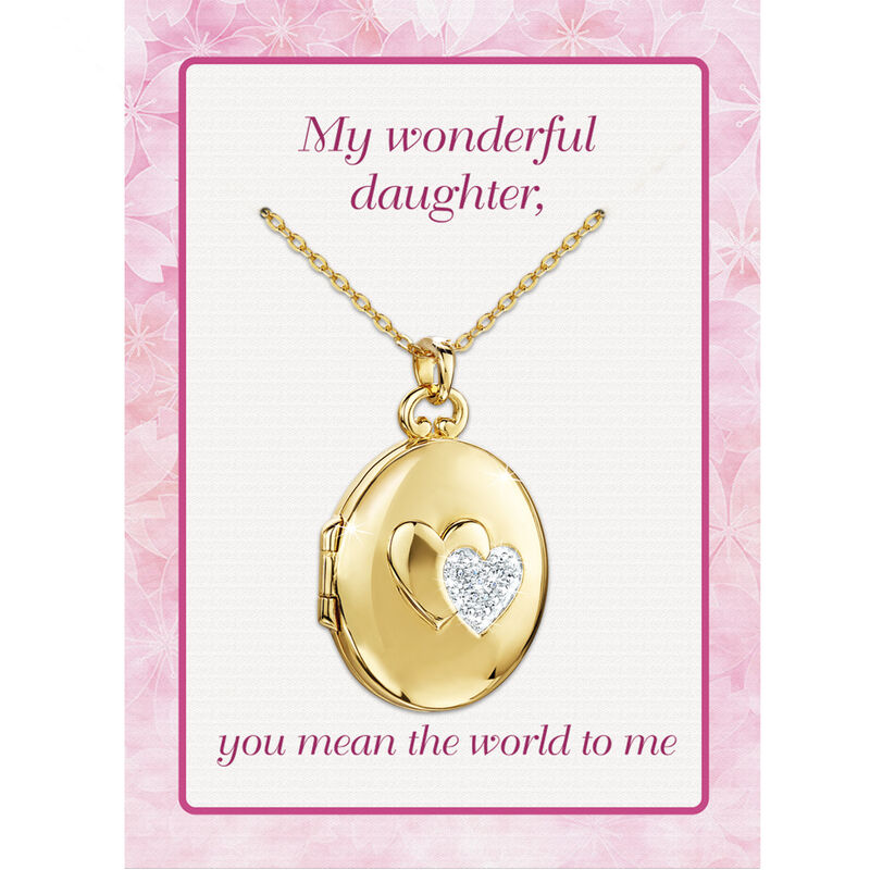 You Mean the World to Me Daughter Diamond Locket Pendant 10216 0017 e poem