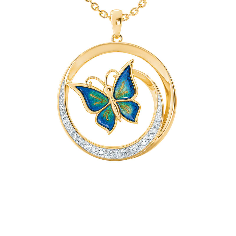 Strong Beautiful Loved Granddaughter Butterfly Pendant 10006 0011 b front