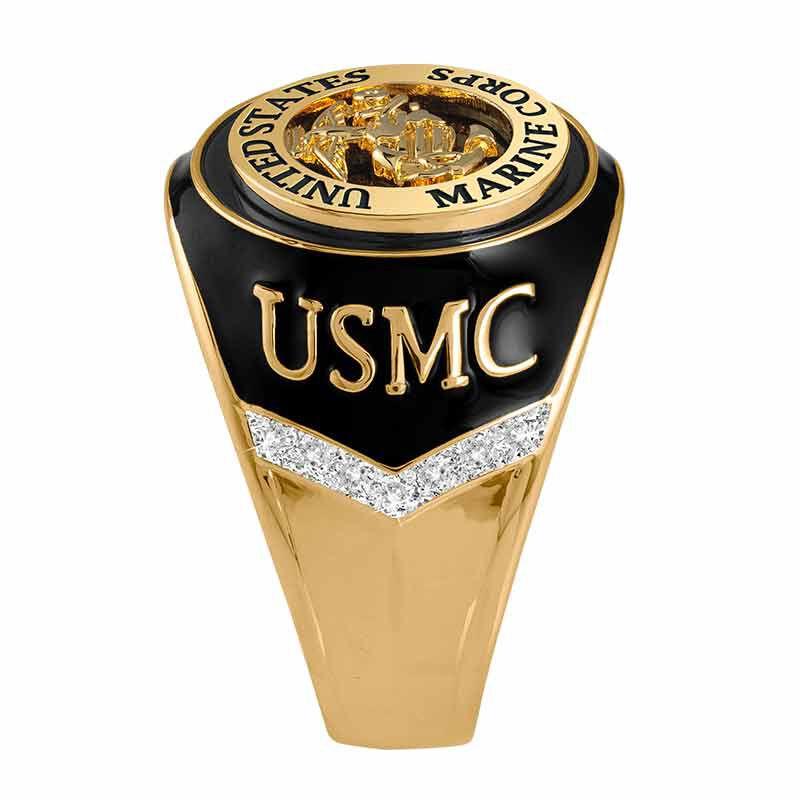 US Marines Onyx  Diamond Ring 6282 001 4 2