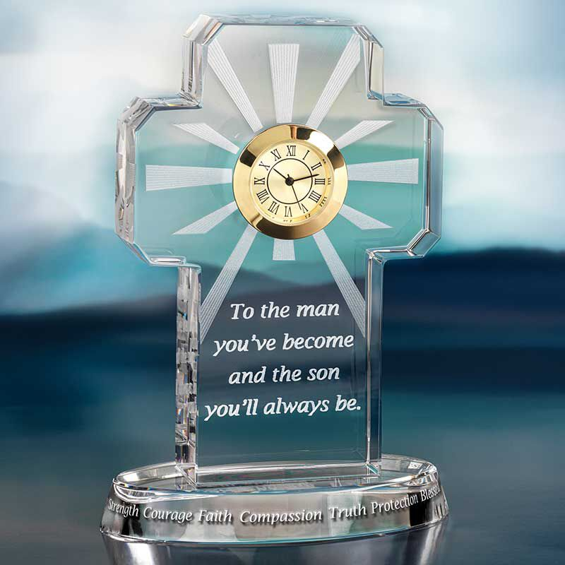 For My Blessed Son Crystal Desk Clock 6081 001 7 2