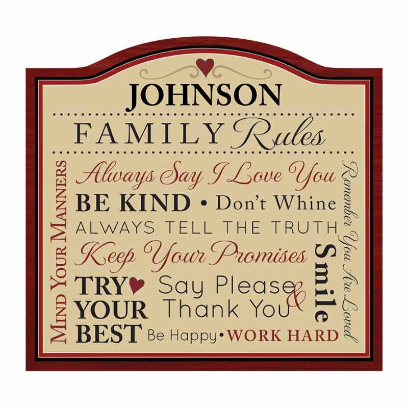 Family Rules Personalized Indoor Plaque 2138 001 9 1