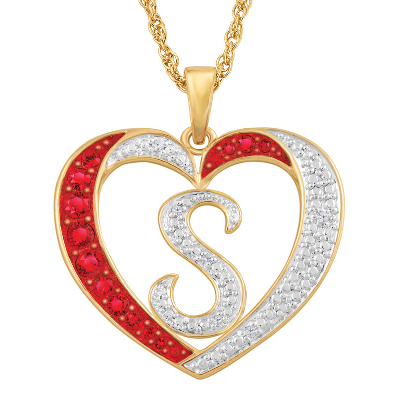 Personalized Diamond Initial Heart Pendant with FREE Poem Card 2300 0060 s initial